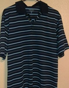 Pebble Beach performance blue striped golf shirt